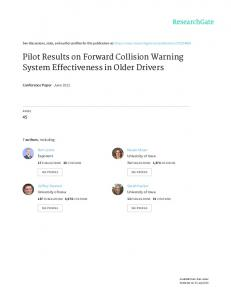 Pilot Results on Forward Collision Warning System