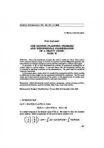 Piotr Grabowski THE MOTION PLANNING PROBLEM AND