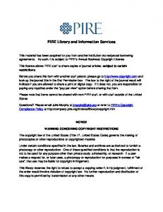 PIRE Library and Information Services