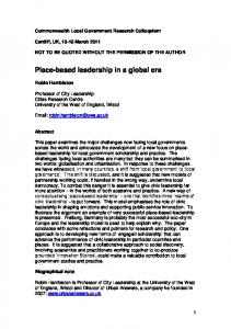 Place-based leadership in a global era - 2011 Conference outcomes