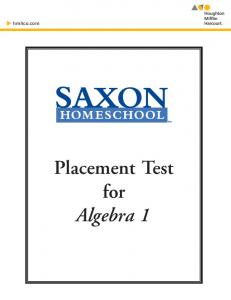Placement Test for - Sonlight Curriculum