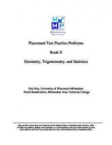 Placement Test Practice Problems Book II Geometry, Trigonometry ...