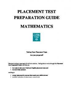PLACEMENT TEST PREPARATION GUIDE MATHEMATICS