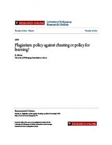 Plagiarism: policy against cheating or policy for