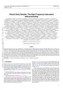Planck Early Results: The High Frequency Instrument ...