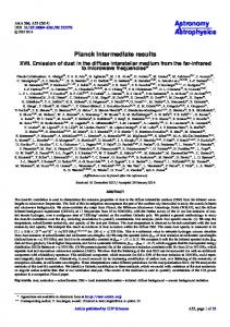 Planck intermediate results - Astronomy & Astrophysics