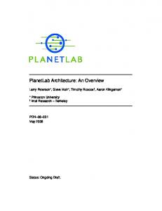 PlanetLab Architecture: An Overview - UCSD CSE
