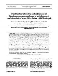 Planktonic availability and settlement of Carcinus maenas megalopae ...