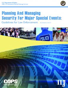 Planning And Managing Security For Major Special Events: