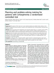 Planning and problem-solving training for patients