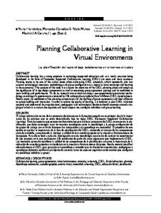 Planning Collaborative Learning in Virtual Environments - Dialnet