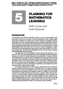 Planning for mathematics learning
