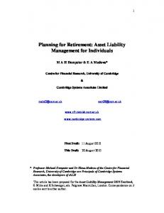 Planning for Retirement: Asset Liability Management for Individuals