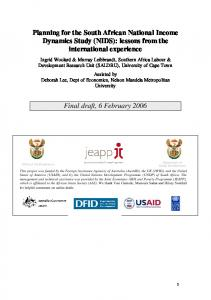 Planning for the South African National Income