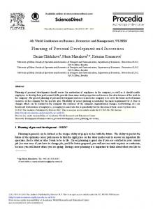 Planning of Personal Development and Succession - ScienceDirect