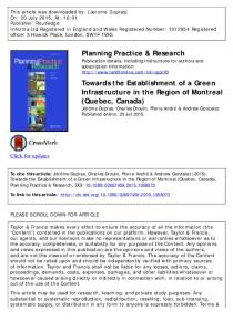 Planning Practice & Research Towards the Establishment of a Green ...