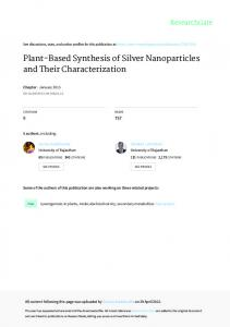 Plant-Based Synthesis of Silver Nanoparticles and
