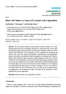 Plant Cell Cultures as Source of Cosmetic Active Ingredients - MDPI