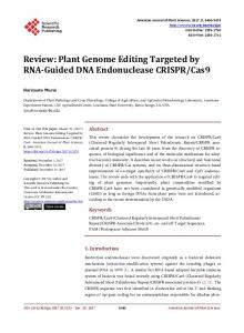 Plant Genome Editing Targeted by RNA-Guided DNA Endonuclease ...