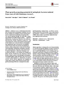 Plant growth-promoting potential of endophytic ...