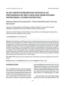 plant growth promoting potential of pseudomonas sp ... - doiSerbia
