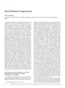 Plant Metabolic Engineering - Plant Physiology