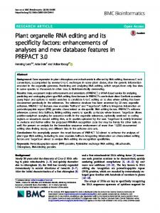 Plant organelle RNA editing and its specificity ... - BMC Bioinformatics