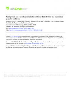 Plant protein and secondary metabolites influence ... - Semantic Scholar