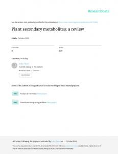 Plant secondary metabolites: a review