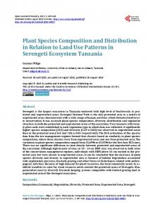 Plant Species Composition and Distribution in Relation to Land Use ...