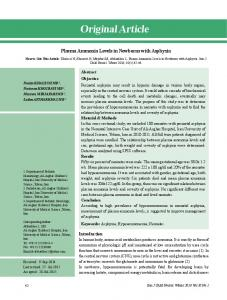 Plasma Ammonia Levels in Newborns with Asphyxia