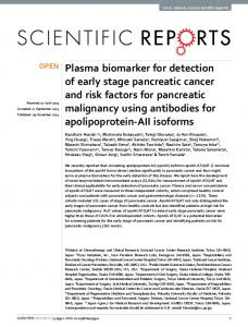 Plasma biomarker for detection of early stage pancreatic cancer and ...