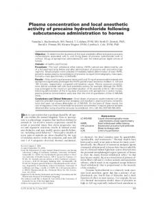 Plasma concentration and local anesthetic activity of procaine ...