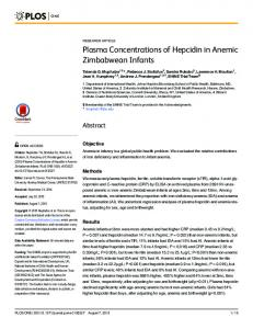 Plasma Concentrations of Hepcidin in Anemic ... - CiteSeerX