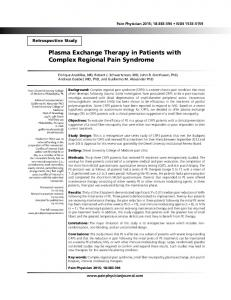 Plasma Exchange Therapy in Patients with Complex Regional Pain ...
