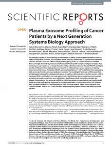 Plasma Exosome Profiling of Cancer Patients by a Next ... - Nature