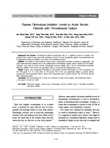 Plasma Fibrinolysis Inhibitor Levels in Acute Stroke Patients with ...