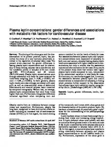 Plasma leptin concentrations: gender differences and ... - Springer Link