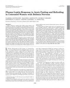 Plasma Leptin Response to Acute Fasting and Refeeding in Untreated