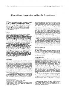 Plasma Lipids, Lipoproteins, and Familial Breast Cancer1