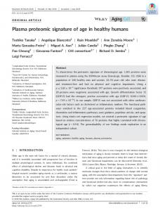 Plasma proteomic signature of age in healthy ... - Wiley Online Library