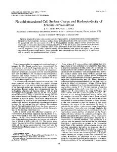 Plasmid-Associated Cell Surface Charge and Hydrophobicity of