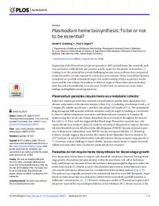 Plasmodium heme biosynthesis: To be or not to be essential? - Plos