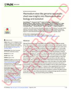 Plasmodium vivax-like genome sequences shed new insights ... - PLOS