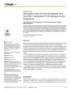 Plasmodium vivax Pv12 B-cell epitopes and HLA-DR - Plos