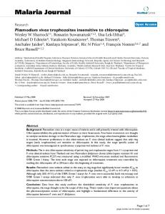 Plasmodium vivax trophozoites insensitive to chloroquine