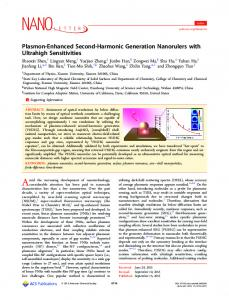 Plasmon-Enhanced Second-Harmonic Generation ... - ACS Publications