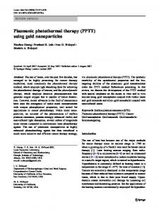 Plasmonic photothermal therapy (PPTT) using gold nanoparticles
