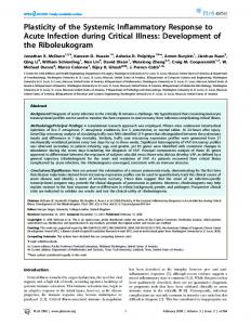 Plasticity of the Systemic Inflammatory Response to Acute ... - Plos