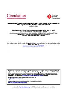 Platelet Function Testing in Patients With Coronary ...